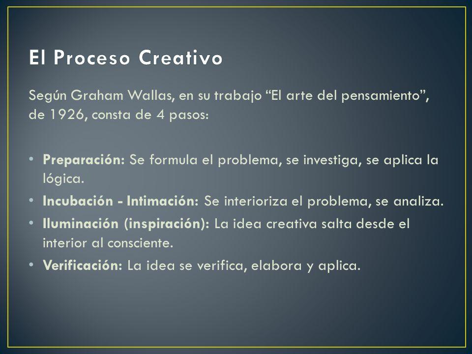 El Proceso Creativo Según Graham Wallas, en su trabajo El arte del pensamiento , de 1926, consta de 4 pasos: