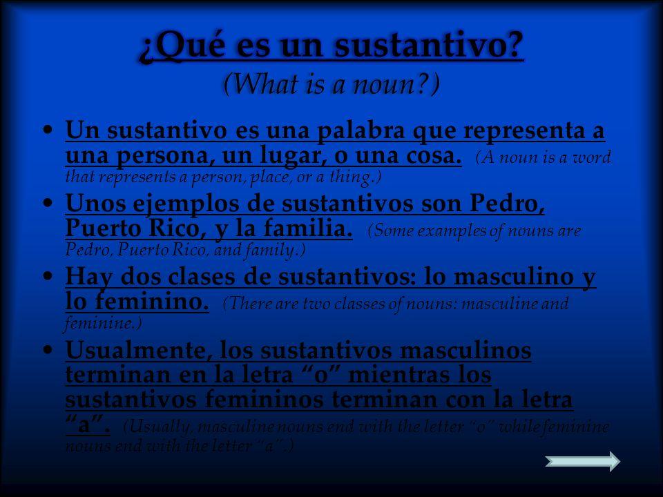 ¿Qué es un sustantivo (What is a noun )