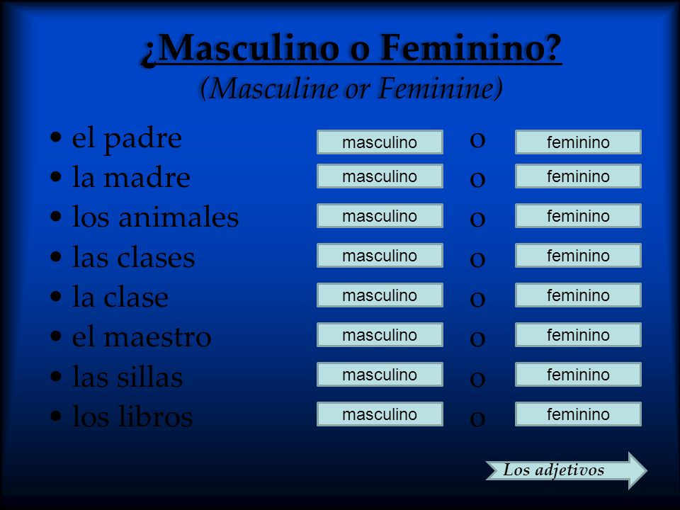 ¿Masculino o Feminino (Masculine or Feminine)