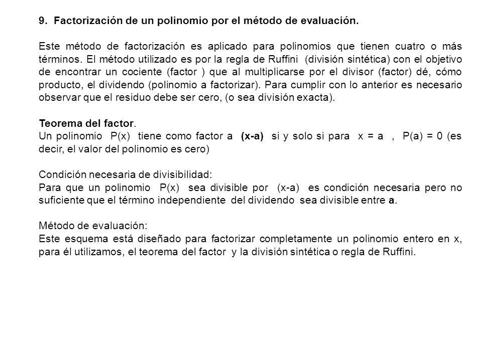 9. Factorización de un polinomio por el método de evaluación.