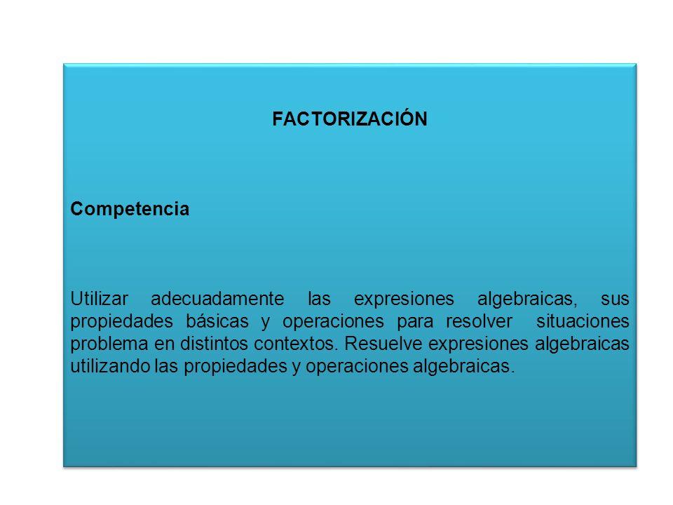 FACTORIZACIÓN Competencia
