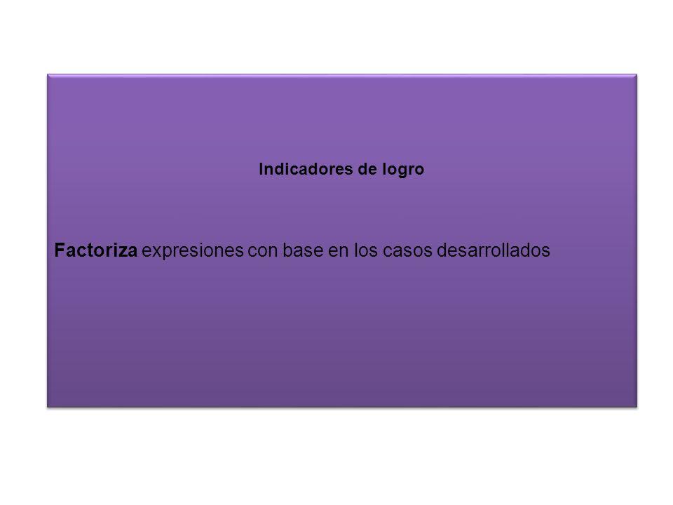 Factoriza expresiones con base en los casos desarrollados
