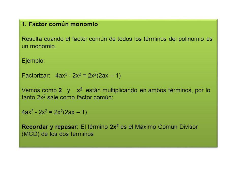 1. Factor común monomio Resulta cuando el factor común de todos los términos del polinomio es un monomio.