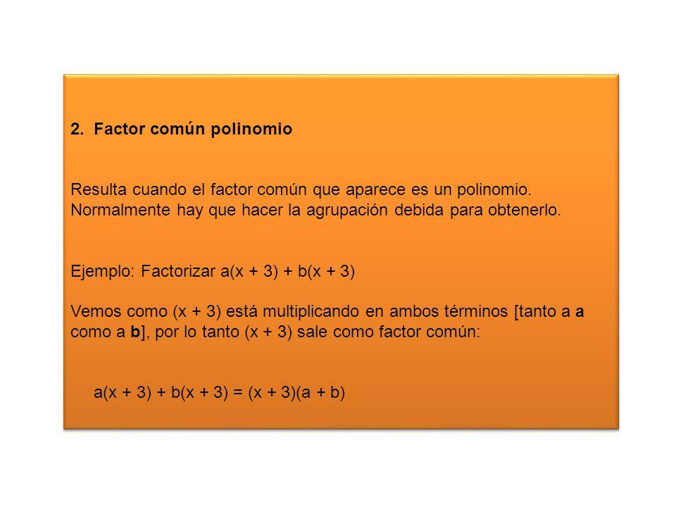 2. Factor común polinomio