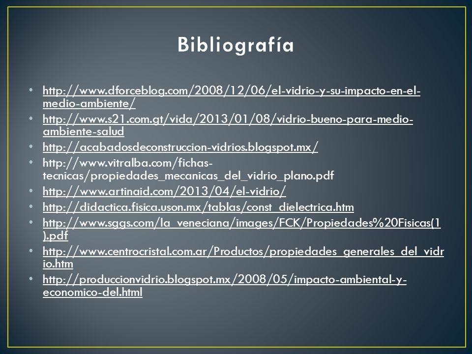 Bibliografíahttp://www.dforceblog.com/2008/12/06/el-vidrio-y-su-impacto-en-el-medio-ambiente/