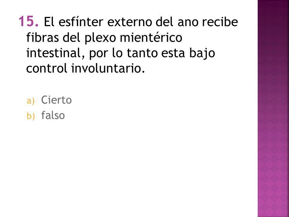 15. El esfínter externo del ano recibe fibras del plexo mientérico intestinal, por lo tanto esta bajo control involuntario.