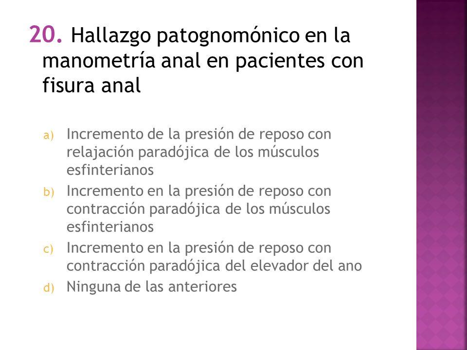 20. Hallazgo patognomónico en la manometría anal en pacientes con fisura anal