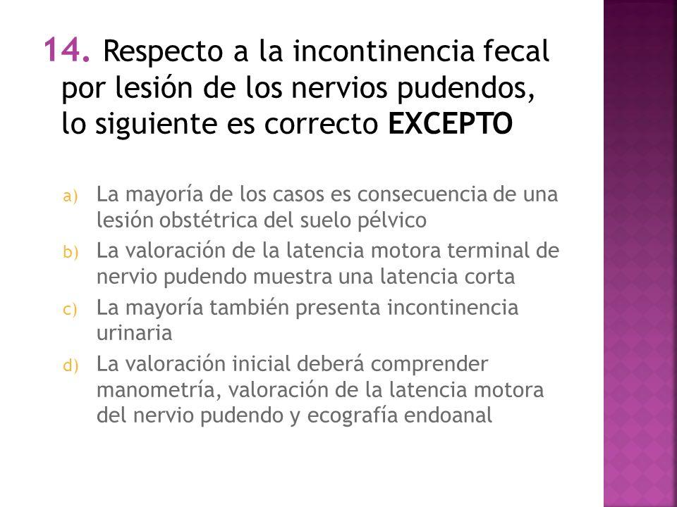 14. Respecto a la incontinencia fecal por lesión de los nervios pudendos, lo siguiente es correcto EXCEPTO