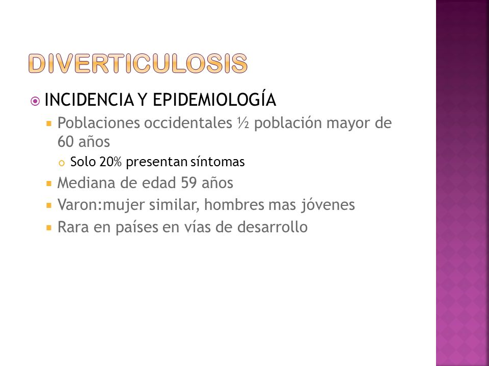 diverticulosis INCIDENCIA Y EPIDEMIOLOGÍA
