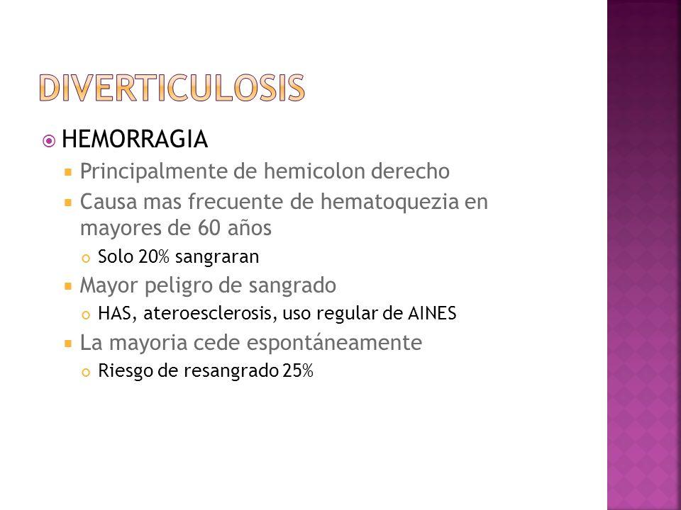 diverticulosis HEMORRAGIA Principalmente de hemicolon derecho
