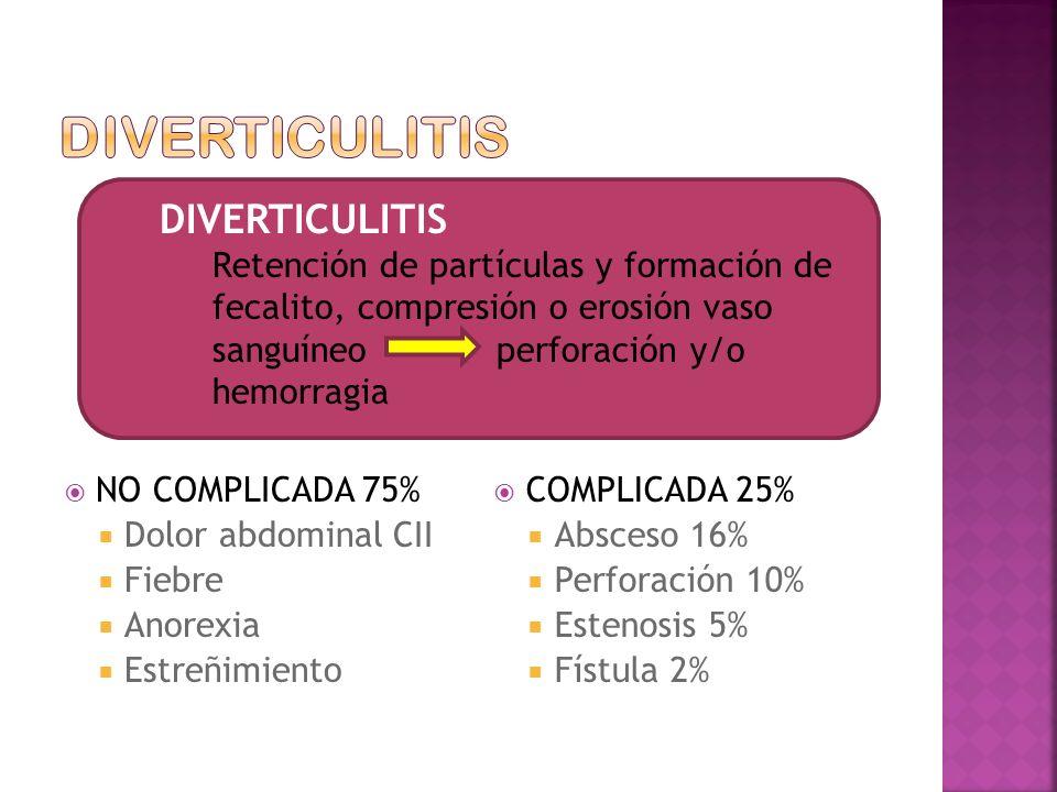 DIVERTICULITIS DIVERTICULITIS NO COMPLICADA 75% Dolor abdominal CII