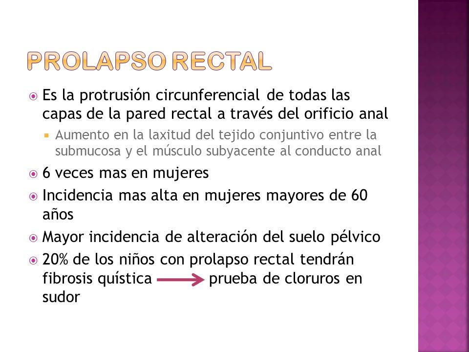 Prolapso rectal Es la protrusión circunferencial de todas las capas de la pared rectal a través del orificio anal.