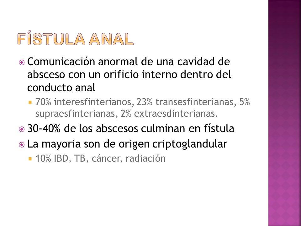 Fístula anal Comunicación anormal de una cavidad de absceso con un orificio interno dentro del conducto anal.