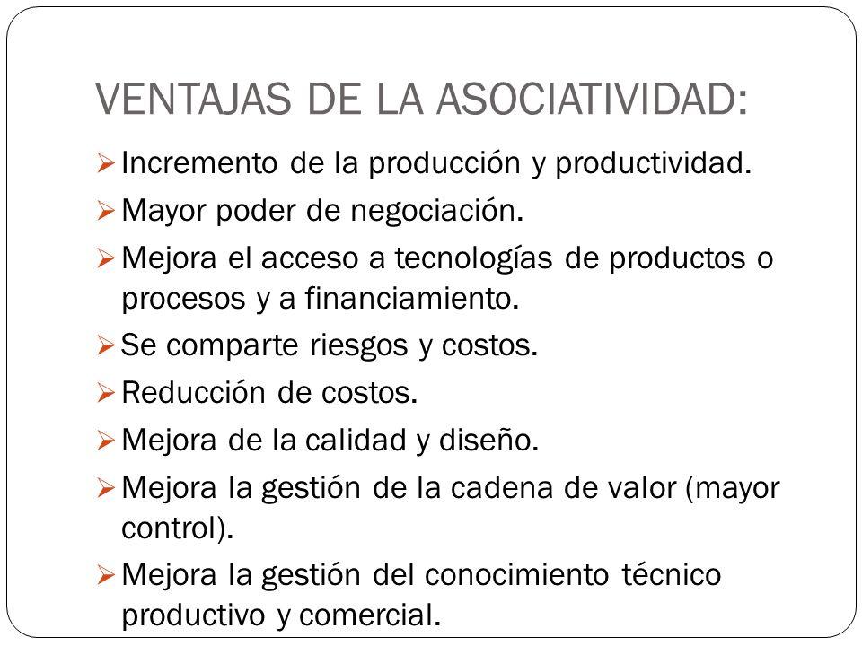 VENTAJAS DE LA ASOCIATIVIDAD: