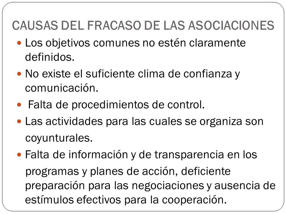 CAUSAS DEL FRACASO DE LAS ASOCIACIONES