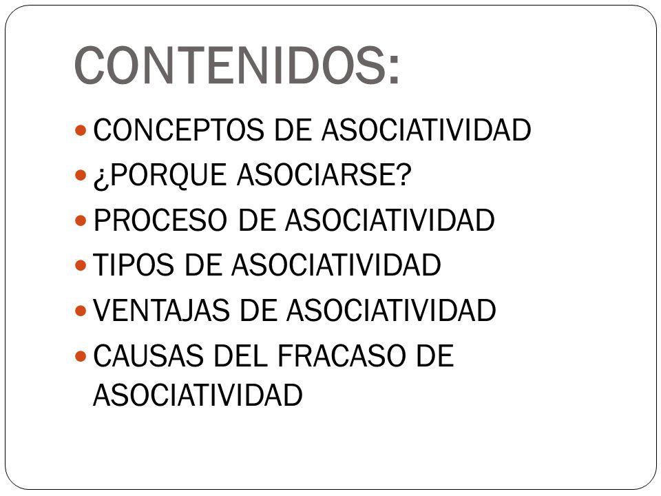CONTENIDOS: CONCEPTOS DE ASOCIATIVIDAD ¿PORQUE ASOCIARSE