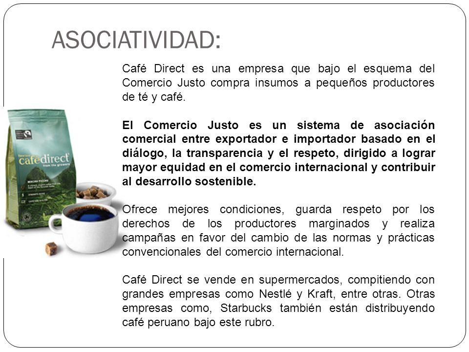ASOCIATIVIDAD:Café Direct es una empresa que bajo el esquema del Comercio Justo compra insumos a pequeños productores de té y café.