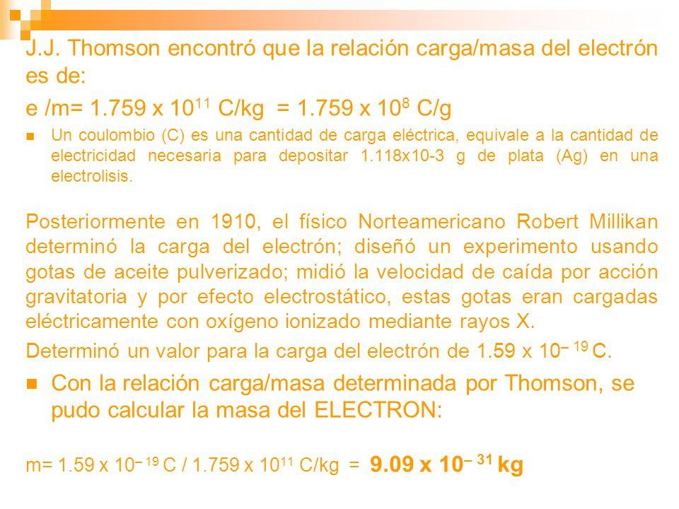 J.J. Thomson encontró que la relación carga/masa del electrón es de: