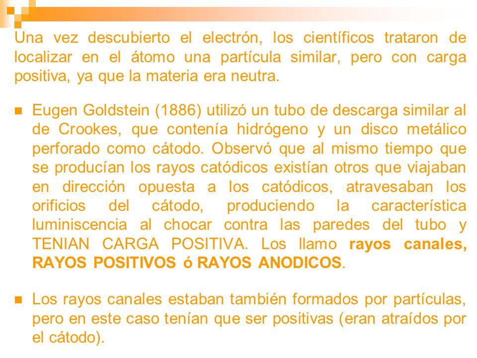 Una vez descubierto el electrón, los científicos trataron de localizar en el átomo una partícula similar, pero con carga positiva, ya que la materia era neutra.