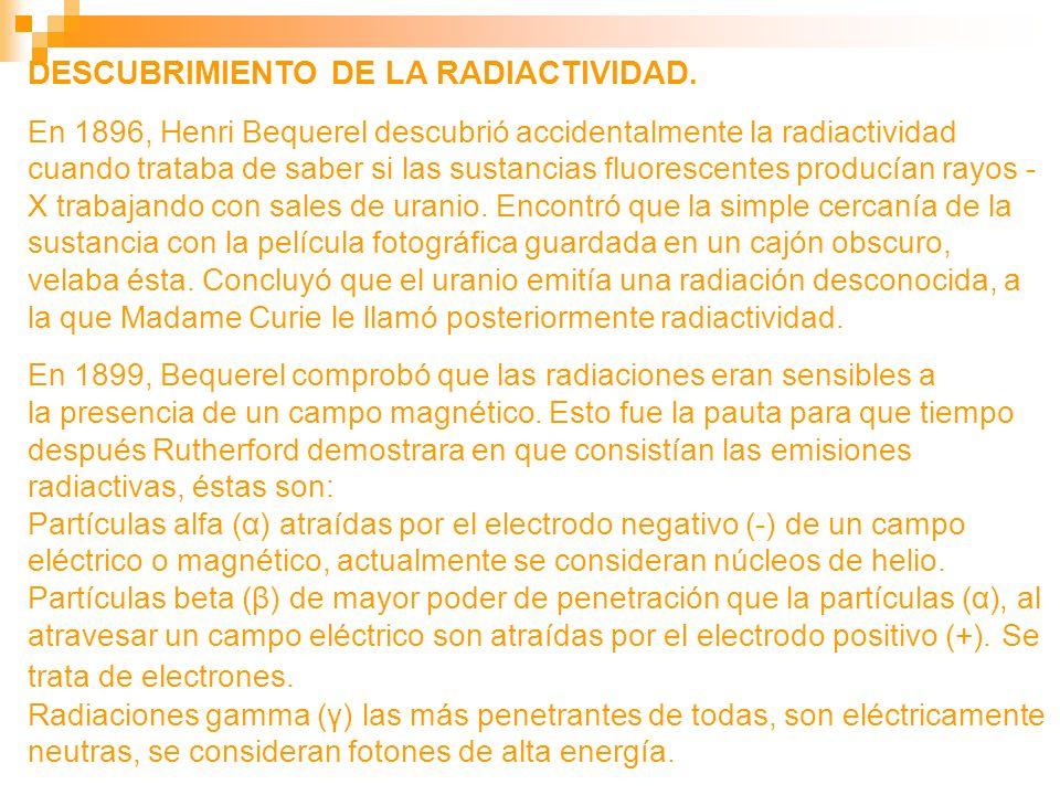 DESCUBRIMIENTO DE LA RADIACTIVIDAD.
