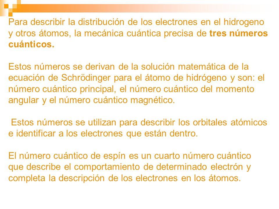 Para describir la distribución de los electrones en el hidrogeno y otros átomos, la mecánica cuántica precisa de tres números cuánticos.