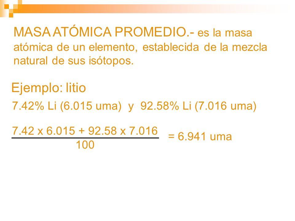 MASA ATÓMICA PROMEDIO.- es la masa atómica de un elemento, establecida de la mezcla natural de sus isótopos.