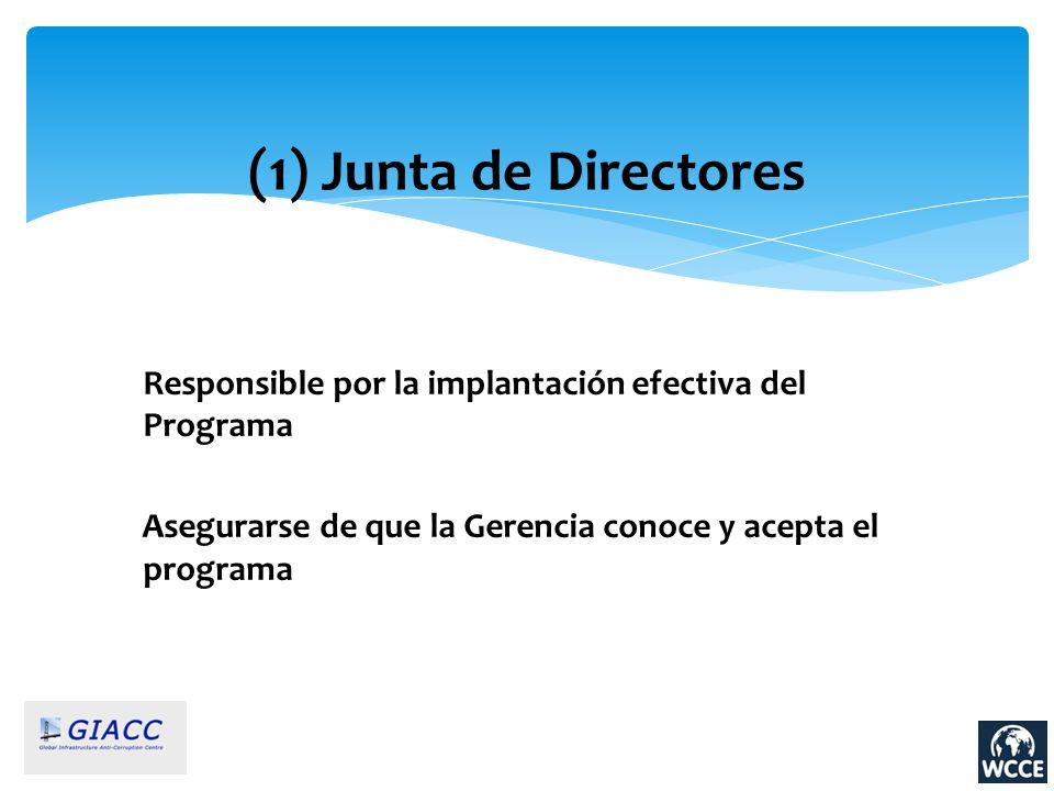 (1) Junta de Directores Responsible por la implantación efectiva del Programa.