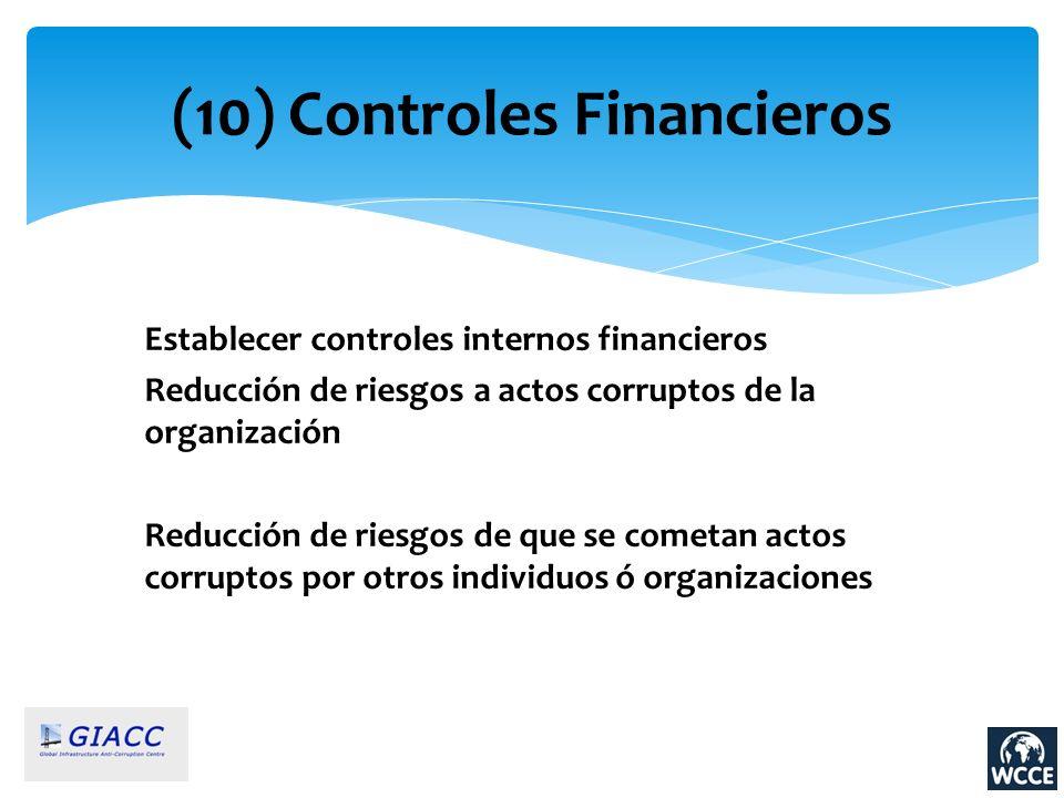(10) Controles Financieros