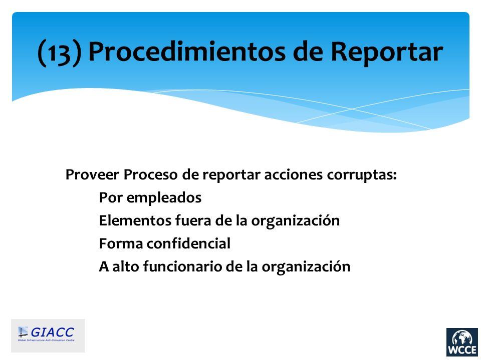 (13) Procedimientos de Reportar