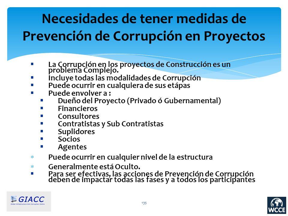 Necesidades de tener medidas de Prevención de Corrupción en Proyectos