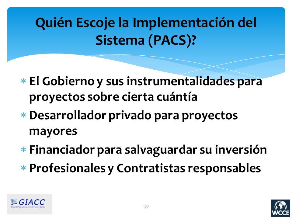 Quién Escoje la Implementación del Sistema (PACS)