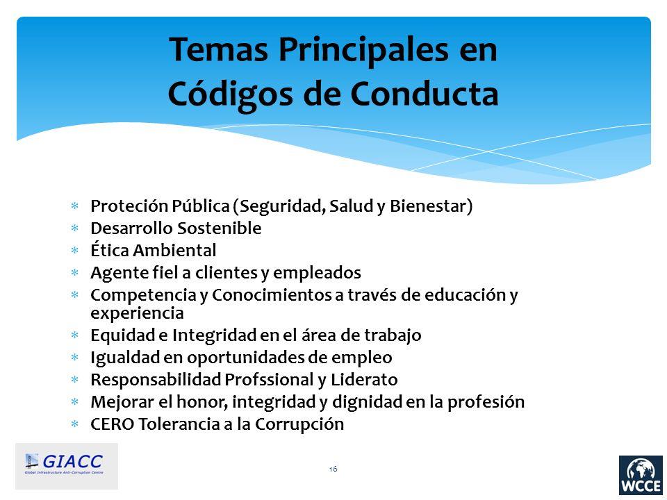 Temas Principales en Códigos de Conducta