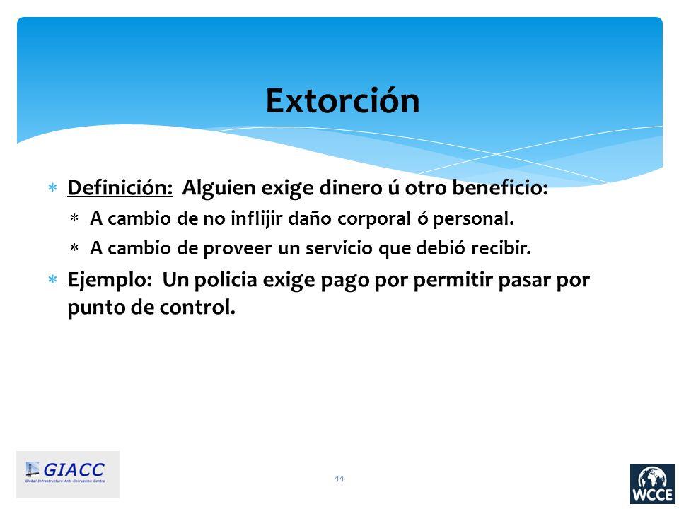 Extorción Definición: Alguien exige dinero ú otro beneficio: