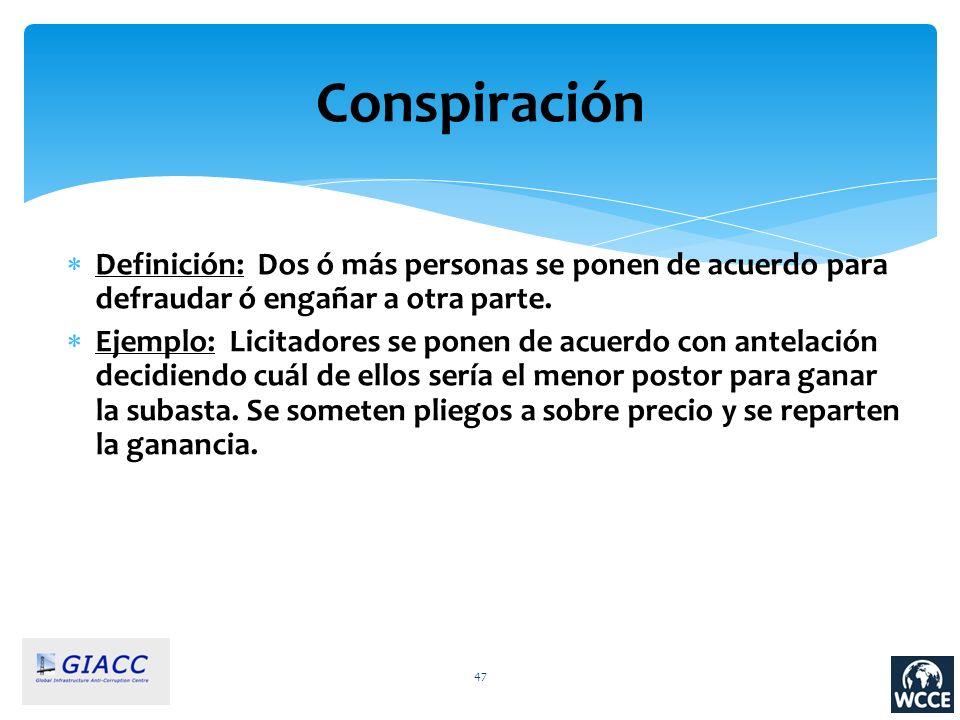 Conspiración Definición: Dos ó más personas se ponen de acuerdo para defraudar ó engañar a otra parte.