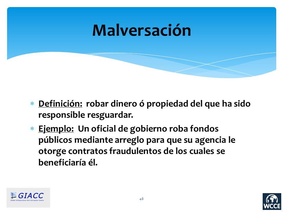 Malversación Definición: robar dinero ó propiedad del que ha sido responsible resguardar.
