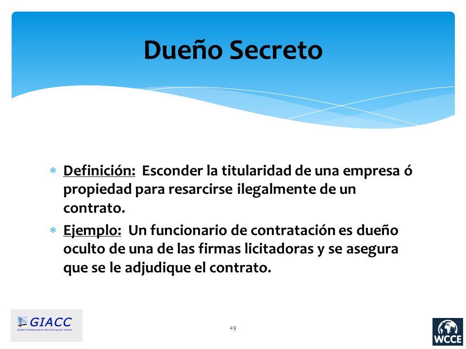 Dueño Secreto Definición: Esconder la titularidad de una empresa ó propiedad para resarcirse ilegalmente de un contrato.