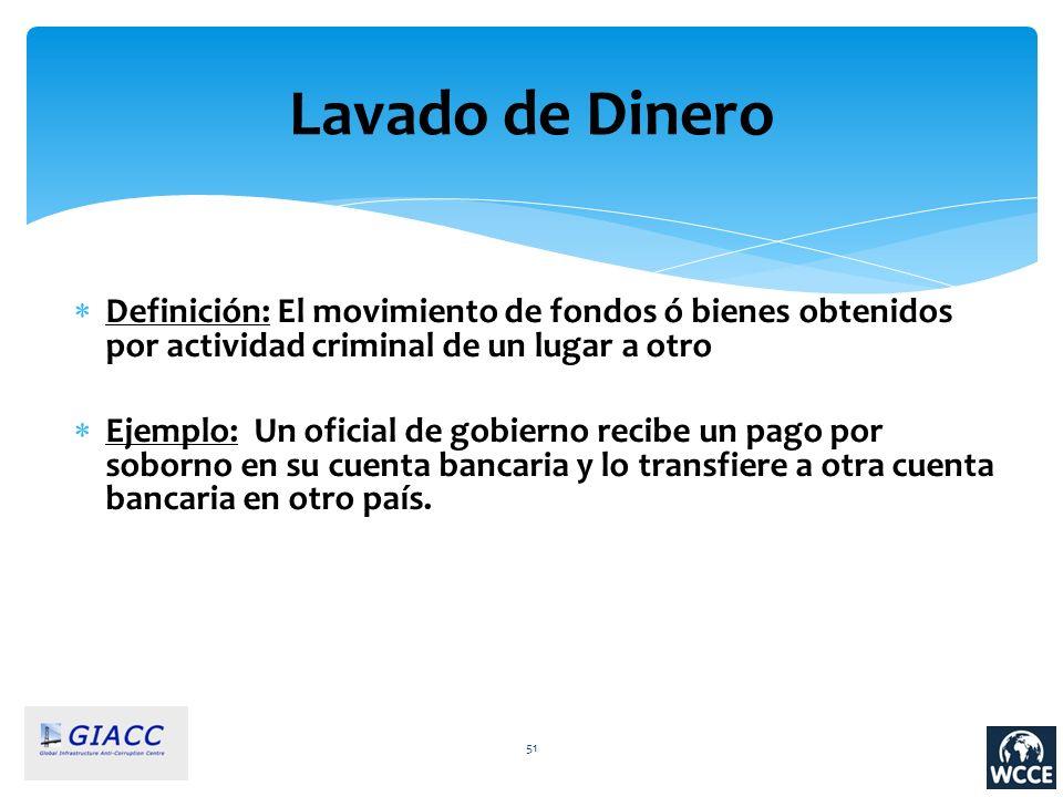 Lavado de Dinero Definición: El movimiento de fondos ó bienes obtenidos por actividad criminal de un lugar a otro.