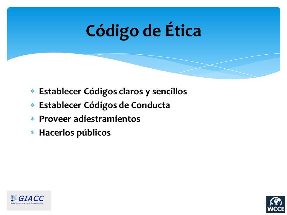 Código de Ética Establecer Códigos claros y sencillos