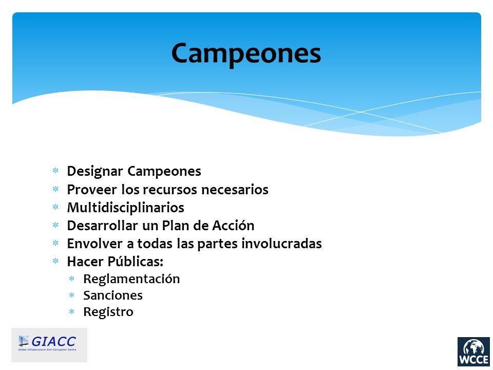 Campeones Designar Campeones Proveer los recursos necesarios