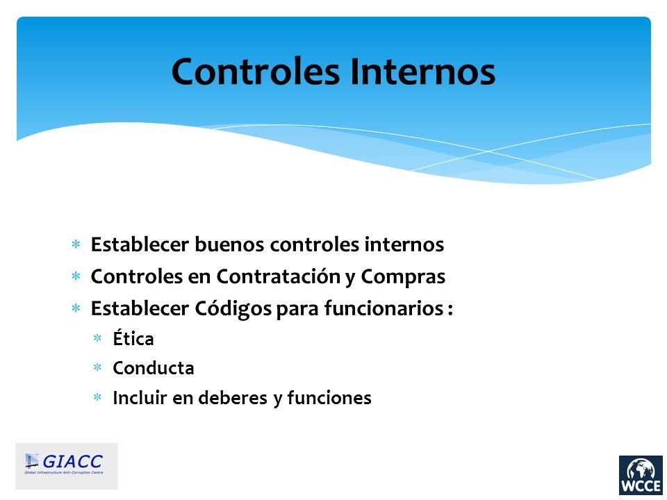 Controles Internos Establecer buenos controles internos