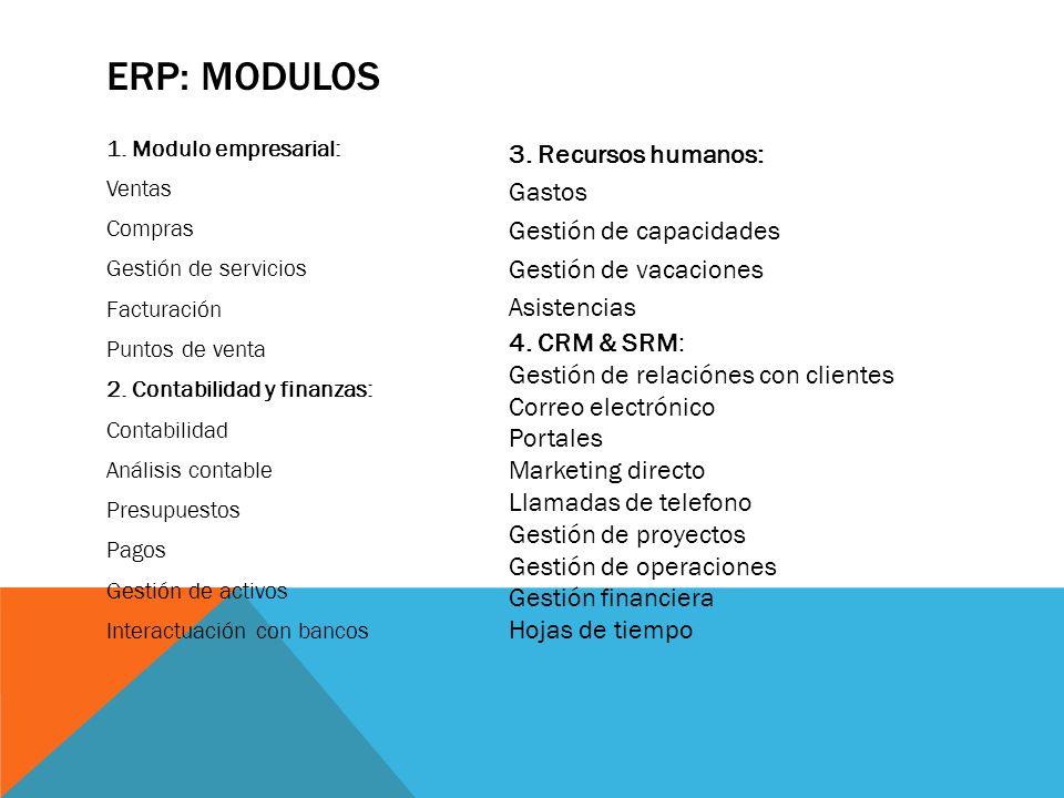 ERP: MODULOS 3. Recursos humanos: Gastos Gestión de capacidades
