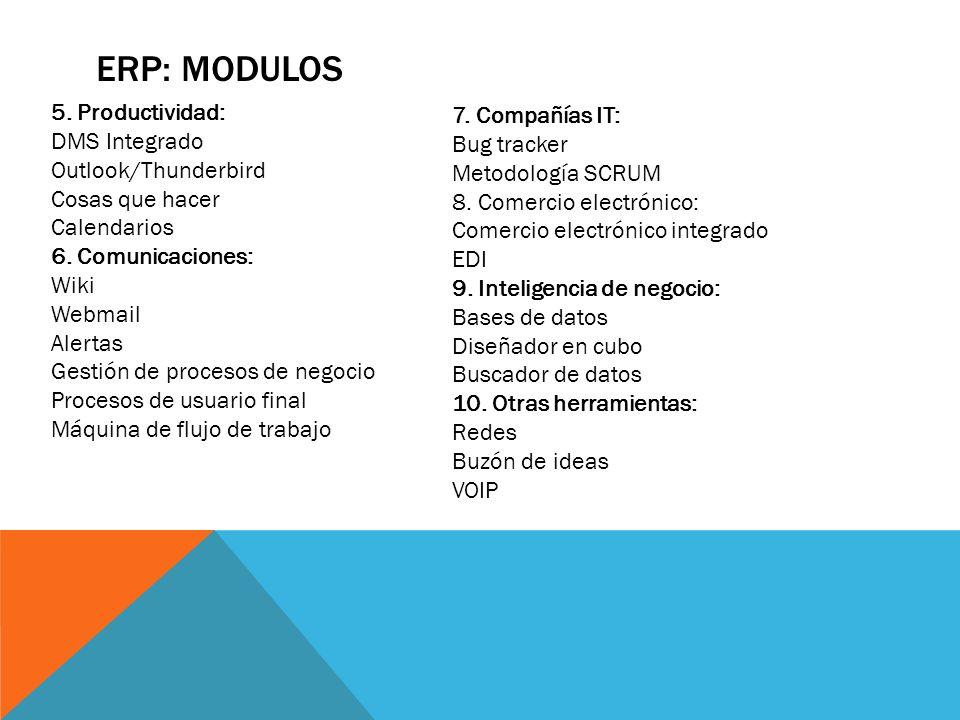 ERP: MODULOS 5. Productividad: 7. Compañías IT: DMS Integrado
