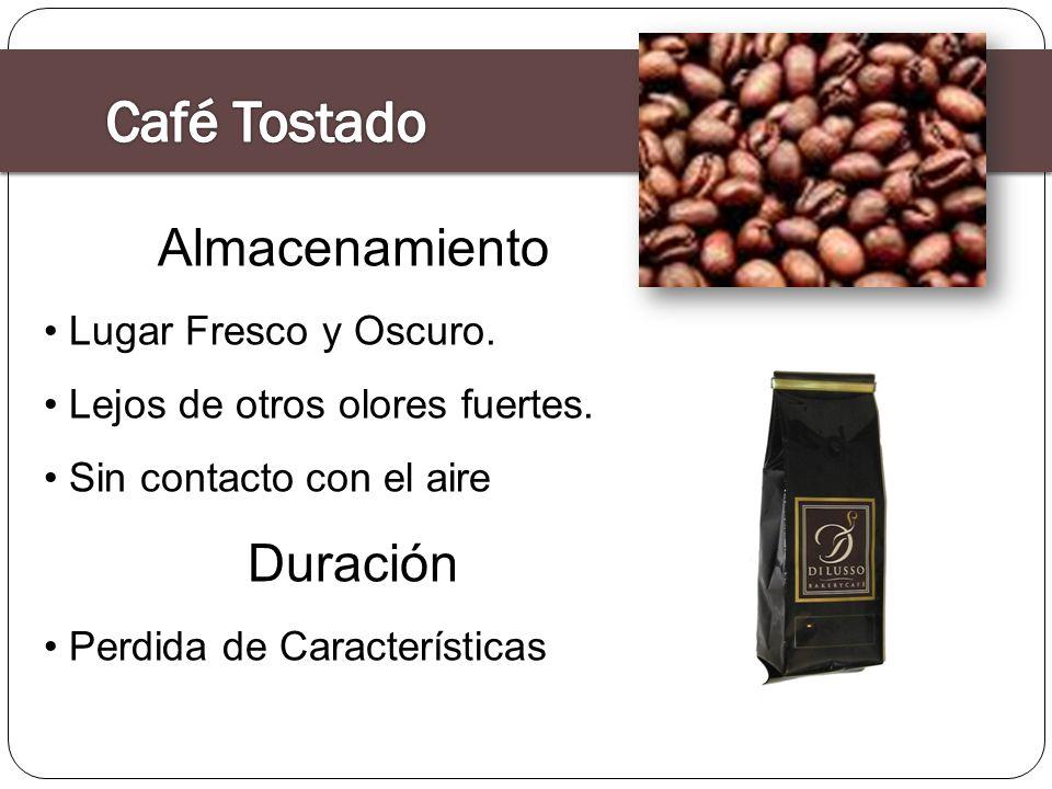 Café Tostado Almacenamiento Duración Lugar Fresco y Oscuro.