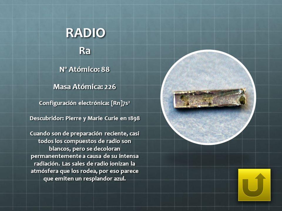 RADIO Ra Nº Atómico: 88 Masa Atómica: 226