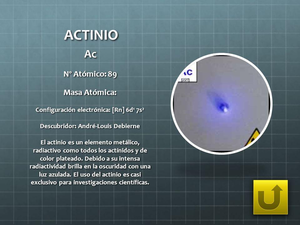 ACTINIO Ac Nº Atómico: 89 Masa Atómica: