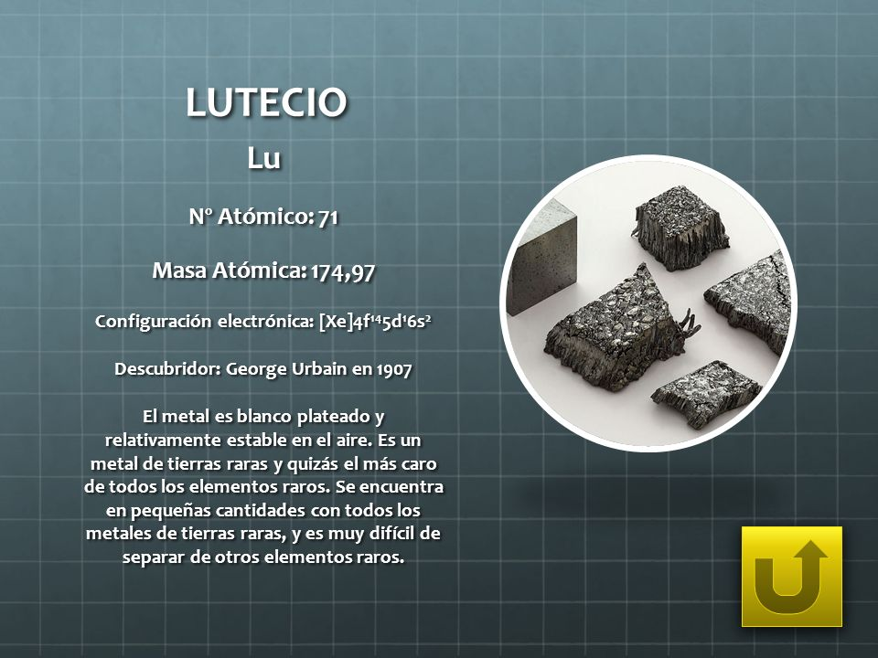 LUTECIO Lu Nº Atómico: 71 Masa Atómica: 174,97