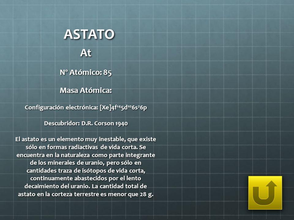 ASTATO At Nº Atómico: 85 Masa Atómica:
