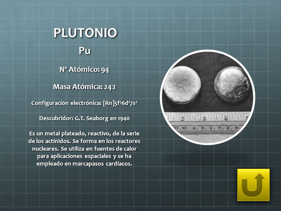 PLUTONIO Pu Nº Atómico: 94 Masa Atómica: 242