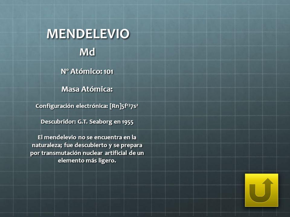 MENDELEVIO Md Nº Atómico: 101 Masa Atómica: