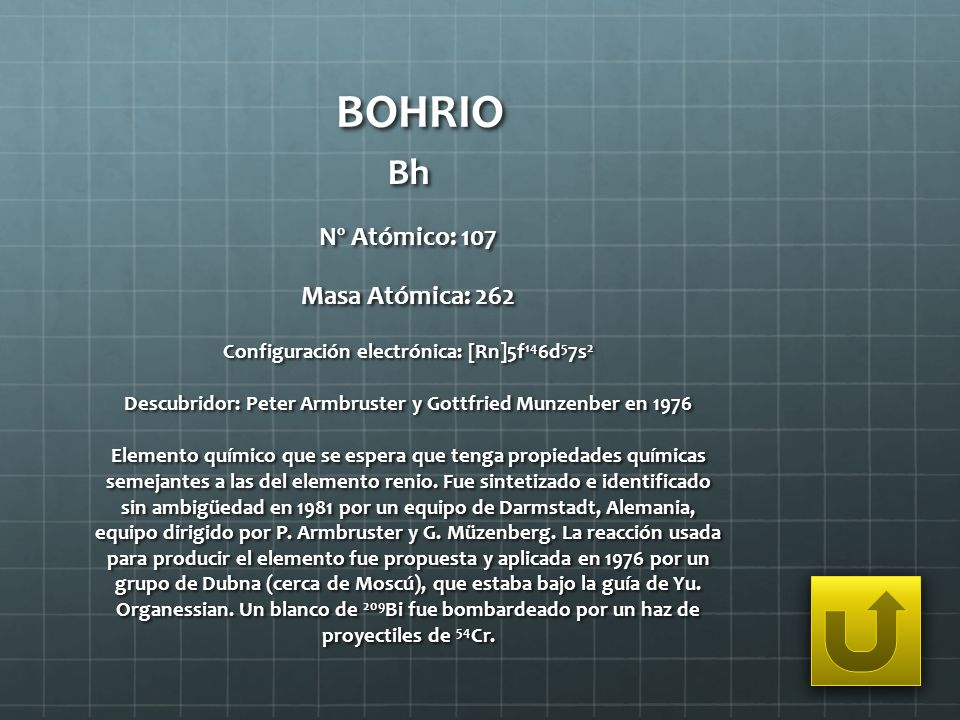 BOHRIO Bh Nº Atómico: 107 Masa Atómica: 262